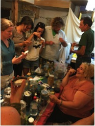 Isabel leading an herbalism workshop as part of the PDC course at CRMPI.