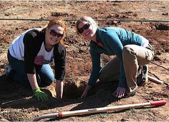 Students working on the early phases of what would become a fruit tree orchard of 100 trees on the Fort Lewis College Campus.