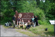Group shot at the Isle Royale Windigo sign 2010