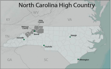 Figure 1: The North Carolina High Country. Map by authors.